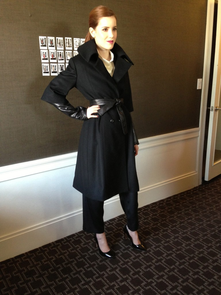 The wool portrait collar coat with leather sleeves