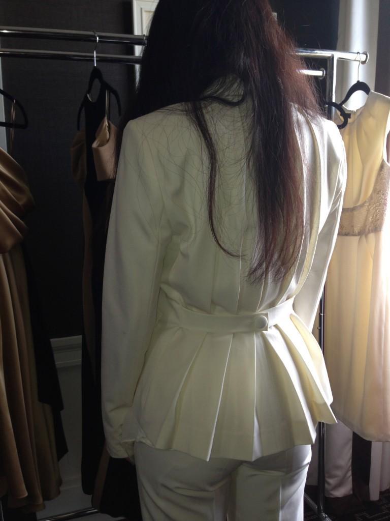 "Back view of Christina's ""Zuzu Kim"" tuxedo jacket"