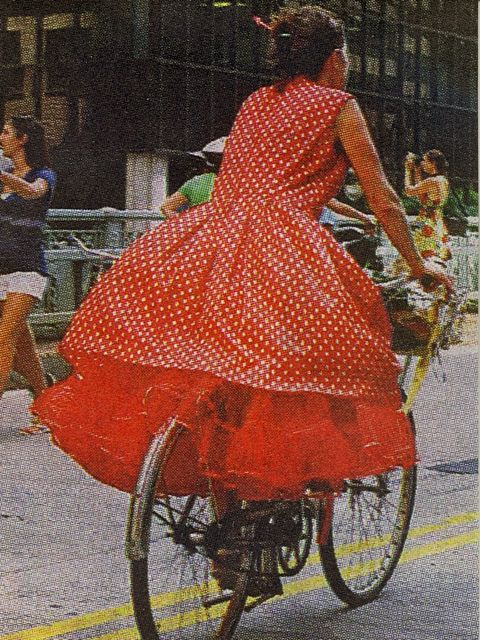 Sacha on her bike, photo by Bill Cunningham