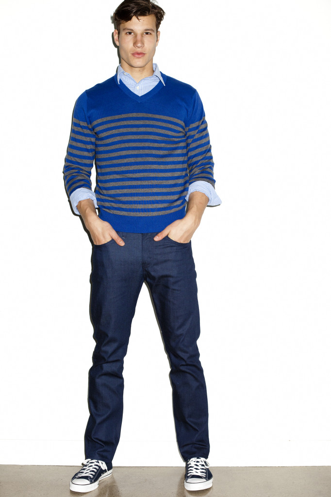 John Bartlett Consensus sailor striped blue sweater