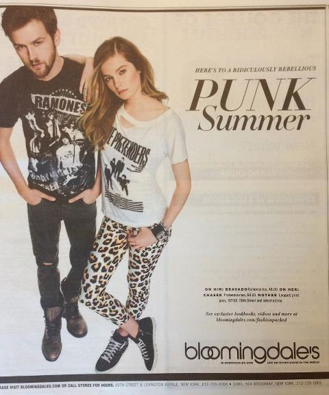 "Bloomingdale's ad from The New York Post, ""ridiculously rebellious"" punk"