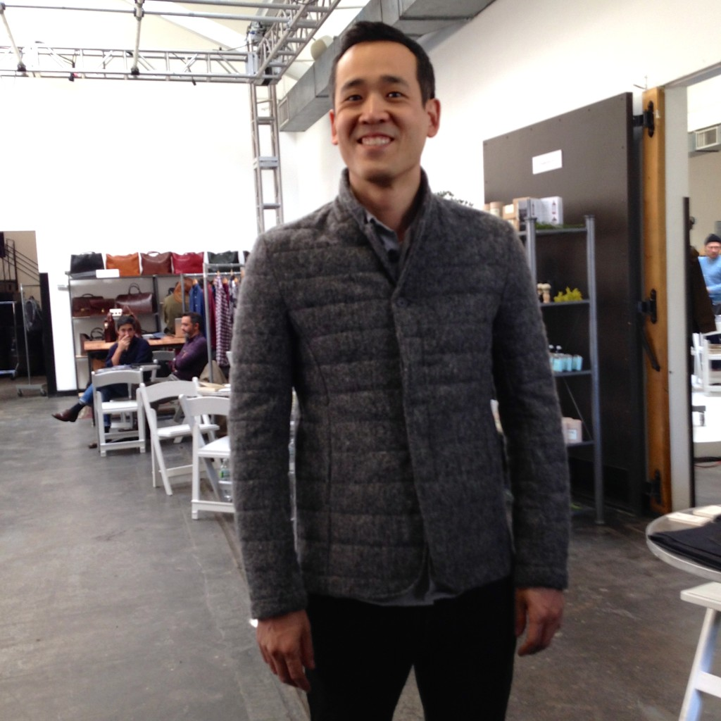 John Park from London wearing his Natural Selection grey flannel wool quilted layering piece.
