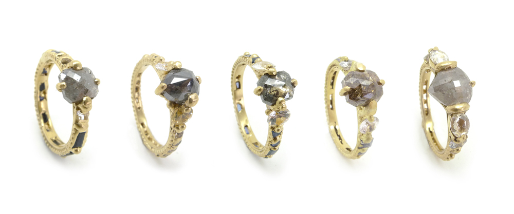 Five grey diamonds...one for every finger!