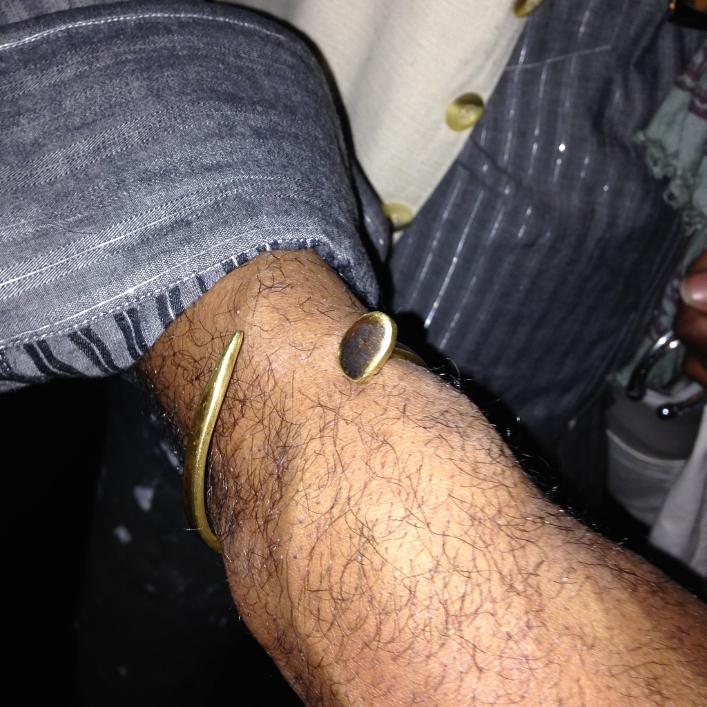 Kevin Stewart checking out my Collection 13 oxidized brass railroad spike cuff for men