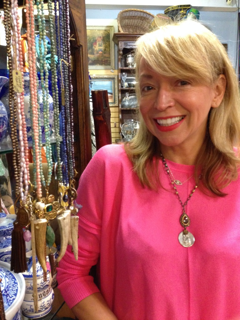 Le Luxe designer Lorie Elizabeth with her Haute Fun collection  of horn and vintage bling necklaces.