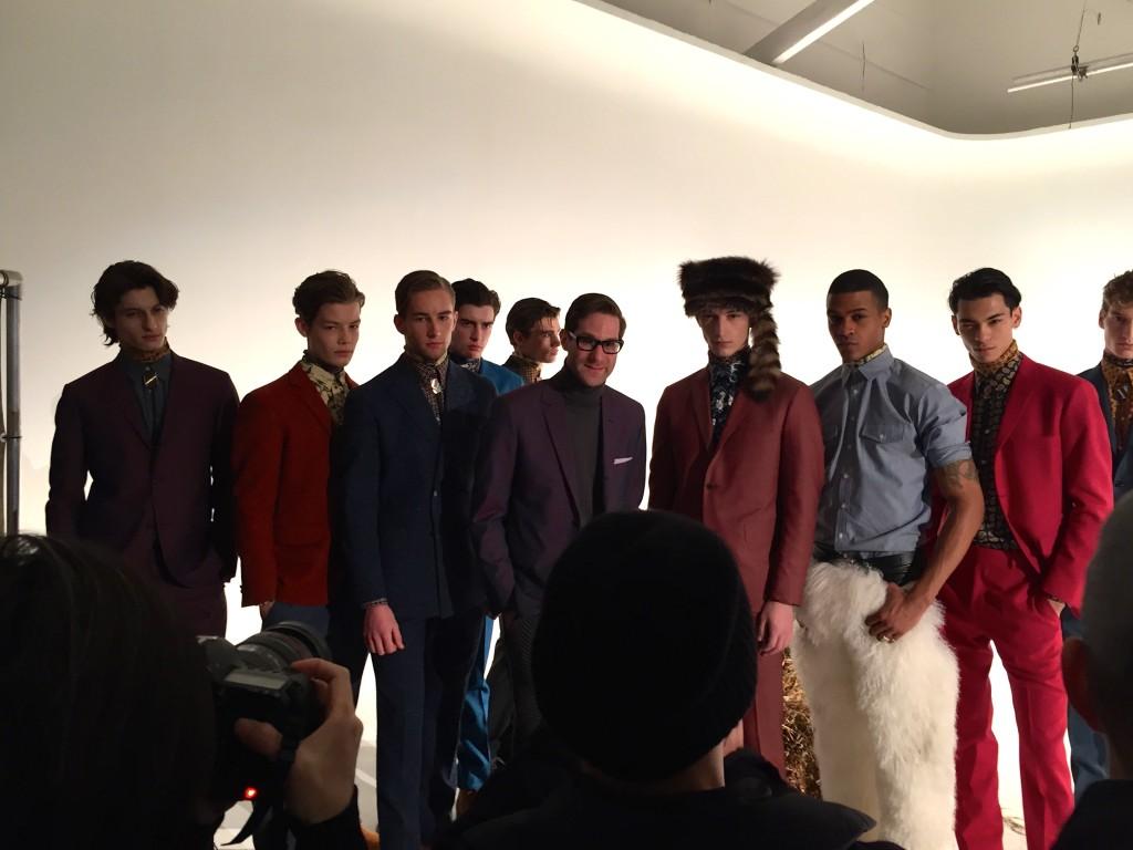 Designer David Hart with models