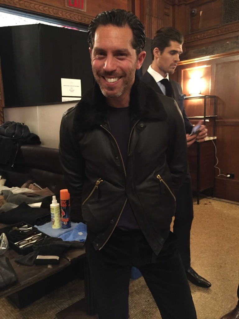 Swedish designer Stephen Ferber, creative director behind Stephen-F menswear collection, sharing a smile backstage pre-presentation at The Oak Room.