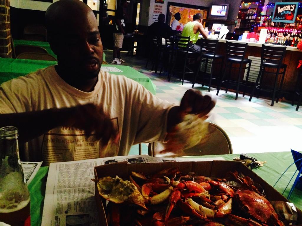 """""""BJ"""" Dennis crackin' into some crab"""